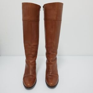"""Sesto Meucci Brown Leather Riding Boots 3"""" Heel 6M"""